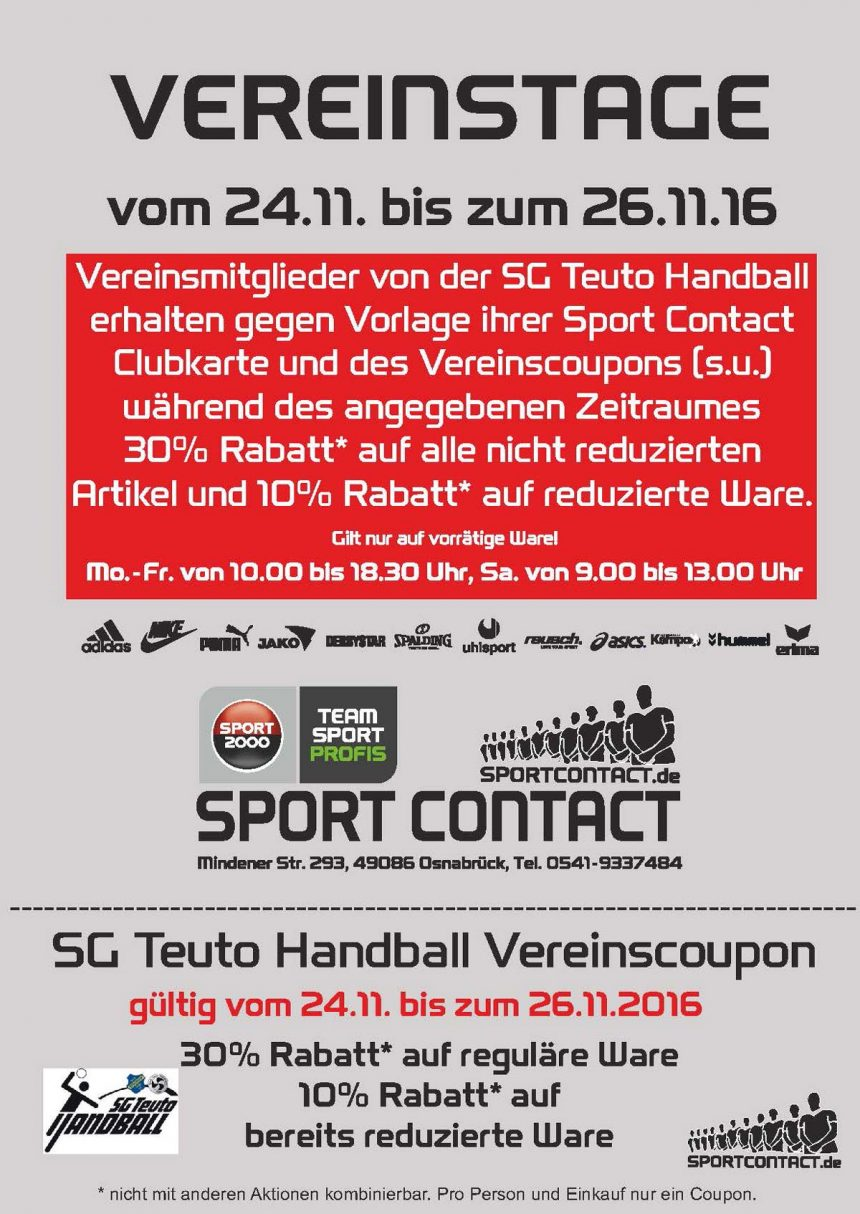 Sport Contact Aktion 24.11 – 26.11.
