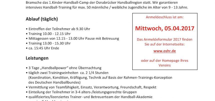 1.Handball-Camp der Osnabrücker Handballregion e.V.